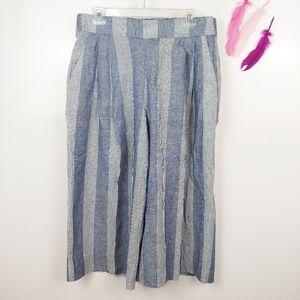 Size 12   GAP Wide Leg Linen Capri Pants